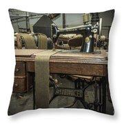 antique Singer Throw Pillow