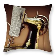 Antique Singer Sewing Machine 2 Throw Pillow