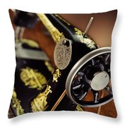 Antique Singer Sewing Machine 3 Throw Pillow