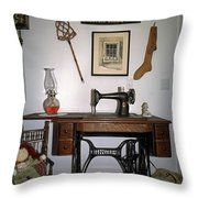 antique Singer sewing machine with treadle Throw Pillow