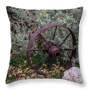 Antique Steel Wagon Wheel Throw Pillow