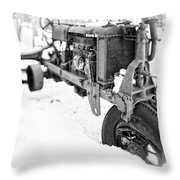 Antique Steel Wheel Tractor Black And White Throw Pillow