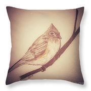 Antique Titmouse Throw Pillow by Ginny Youngblood