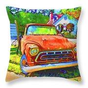 Antique Tow Truck Throw Pillow