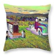 Antique Vehicles Throw Pillow