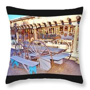 Old Santa Fe Antique Wagon And Culture Throw Pillow