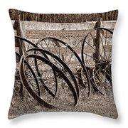 Antique Wagon Wheels I Throw Pillow