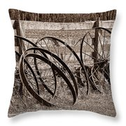 Antique Wagon Wheels I Throw Pillow by Tom Mc Nemar
