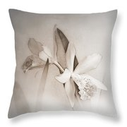 Antique White Orchids Throw Pillow