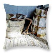 Antique Wooden Buckets Throw Pillow