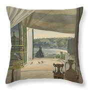 Antiquities By A Balcony Overlooking The Gulf Of Naples Throw Pillow