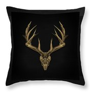 Antlered Skulls - Gold Deer Skull X-ray Over Black Canvas No.1 Throw Pillow