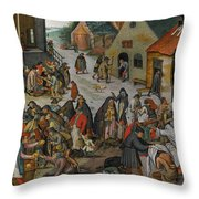 Antwerp The Seven Acts Of Mercy Throw Pillow