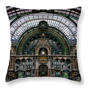 Antwerp Train Terminal Throw Pillow
