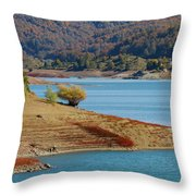 Aoos Lake Shore In Epirus, Greece Throw Pillow