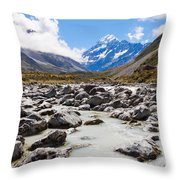 Aoraki Mount Cook Hooker Valley Southern Alps Nz Throw Pillow