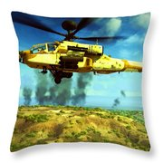 Apache Ai Assault - Operation Desert Wolves Throw Pillow