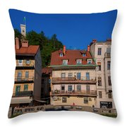 Apartments By The Ljubljanica River In Ljubljana Throw Pillow