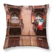 Apartments Overlooking The Streets Of Verona Throw Pillow