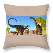 Apatosaurus Forest Throw Pillow