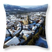 Apiro Italy In The Snow - Aerial Image. Throw Pillow