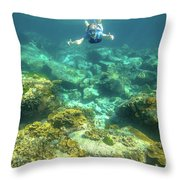 Apnea In Tropical Sea Throw Pillow