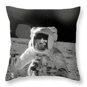 Apollo 12 Moonwalk Throw Pillow
