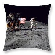 Apollo 16 Astronaut Leaps Throw Pillow by Stocktrek Images