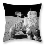 Apollo 16 Astronaut Reaches For Tools Throw Pillow