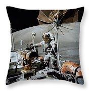 Apollo 17 Astronaut Approaches Throw Pillow