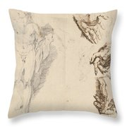 Apollo And Studies Of The Artist's Own Hand [recto] Throw Pillow