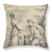 Apollo And The Cumaean Sibyl Throw Pillow