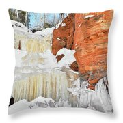 Apostle Islands National Lakeshore Waterfall Portrait Throw Pillow