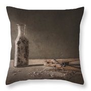 Apothecary Bottle And Clothes Pin Throw Pillow