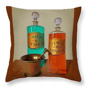 Apothecary Bottles And Brass Pestle And Mortar Throw Pillow