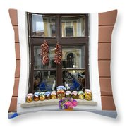 Apothecary Jars On Windowsill  Throw Pillow