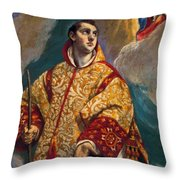 Apparition Of The Virgin To St Lawrence Throw Pillow