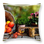 Apple Basket And Other Objects Still Life L B With Alt. Decorative Ornate Printed Frame. Throw Pillow