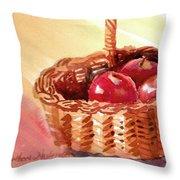 Apple Basket Throw Pillow