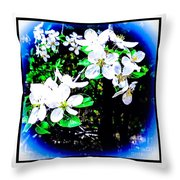Apple Blossoms In Blue White Mist Throw Pillow