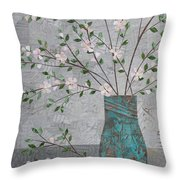 Apple Blossoms In Turquoise Vase Throw Pillow