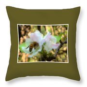 Apple Blossoms With Honey Bee Throw Pillow