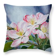 Apple Blossoms With Honeybee Throw Pillow