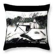 Apple Farm In Winter Throw Pillow