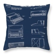 Apple Macintosh Patent 1983 Blue Throw Pillow