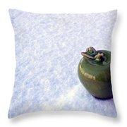Apple On Snow Throw Pillow