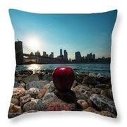 Apple On The Rocks Throw Pillow