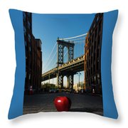 Apple On The Streets Throw Pillow