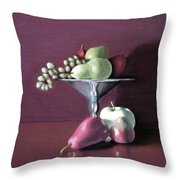 Apple  Pears And Grapes Throw Pillow