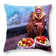Apple Seller Throw Pillow